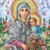 Картина бісером Мати Божа з немовлям Охапкіна